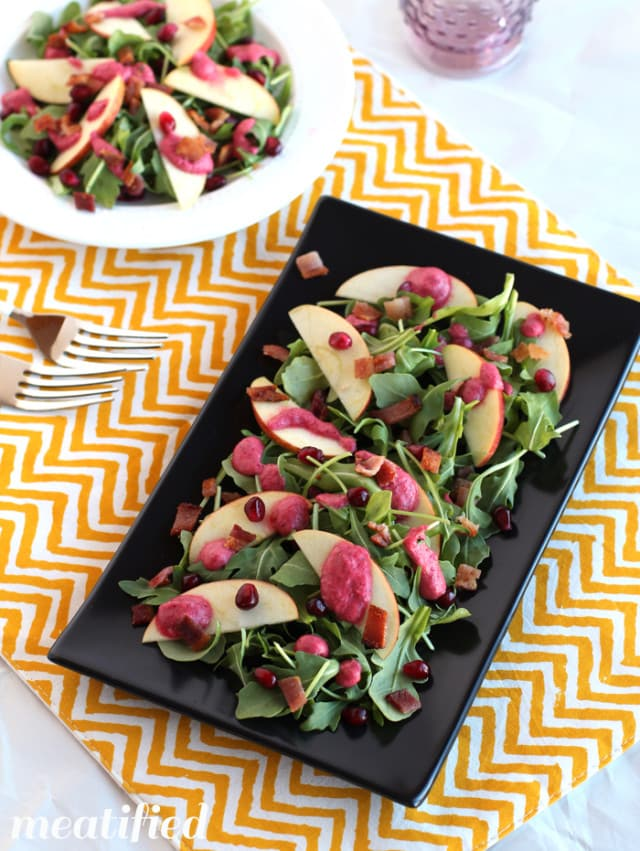 Whole30 Arugula, Apple & Bacon Salad with Cranberry Vinaigrette by Meatified