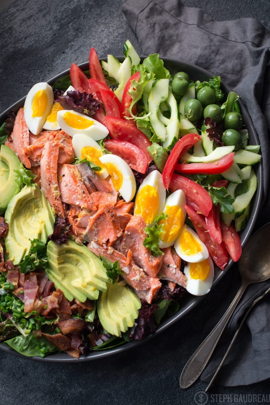 Whole30 Salmon Cobb Salad by Stupid Easy Paleo