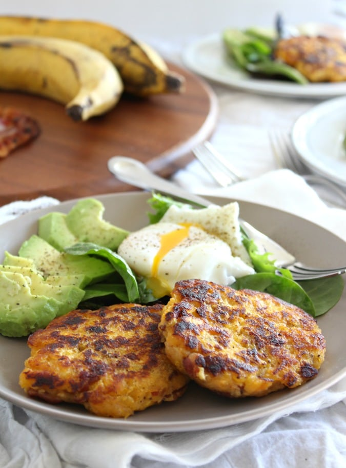 Whole30 Plantain bacon fritters with avocado and poached egg by Paleo Running Momma