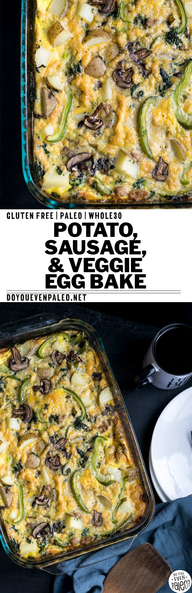 Prep breakfast for the week with this easy Potato, Sausage, and Veggie Egg Bake! This healthy recipe uses peppers, mushrooms, spinach, peppers and sausage to bulk up eggs and make a well-rounded breakfast. Paleo, gluten free, Whole30 and clean eating. | DoYouEvenPaleo.net #paleo #whole30 #glutenfree