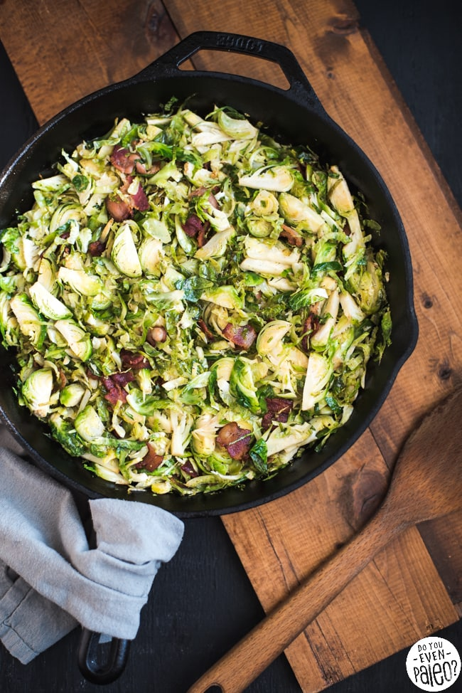 Whole30 Sautéed Brussels Sprouts with Bacon | DoYouEvenPaleo.net