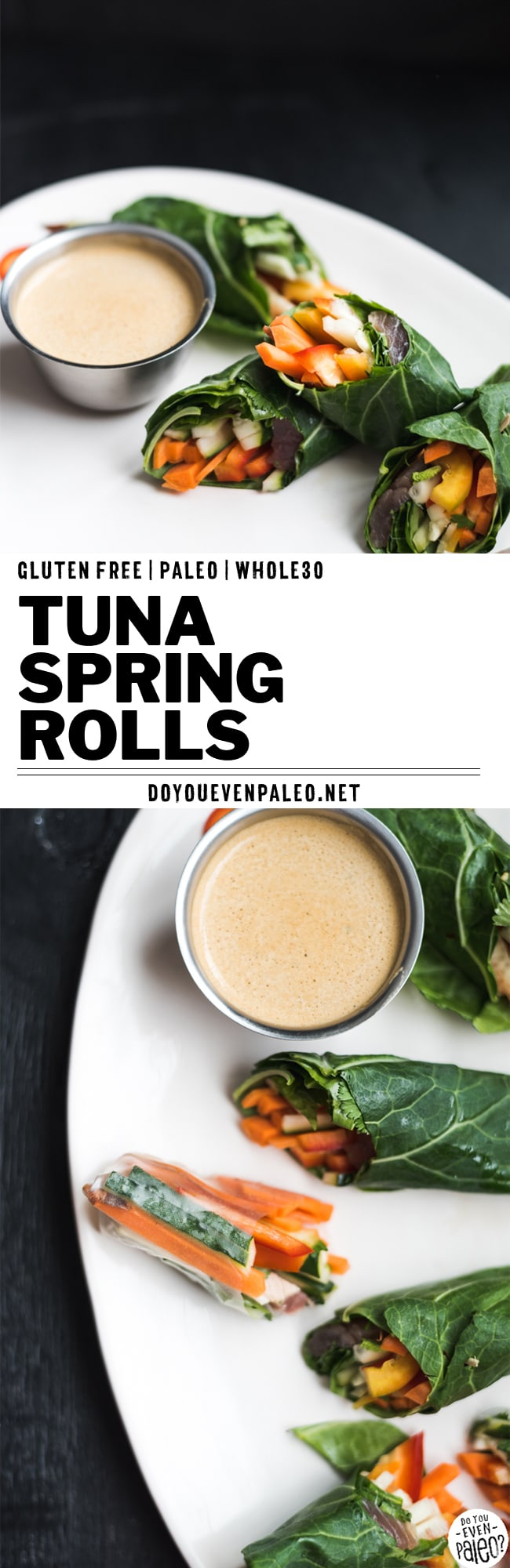 Paleo Tuna Spring Rolls — little bundles of veggies and fresh tuna fish wrapped in collard greens instead of rice paper wrappers! This Whole30 recipe has cucumbers, carrots, bell pepper, and herbs in one bite. A healthy, gluten free, clean eating, and paleo recipe. | DoYouEvenPaleo.net #paleo #whole30 #doyouevenpaleo