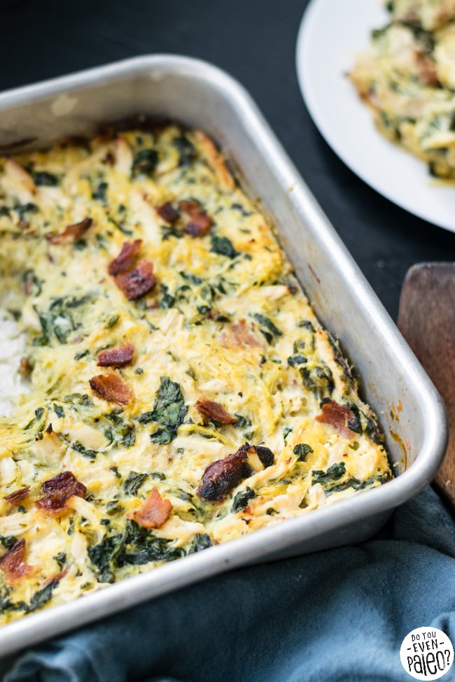 Chicken Bacon Ranch Spaghetti Squash Casserole Recipe | DoYouEvenPaleo.net