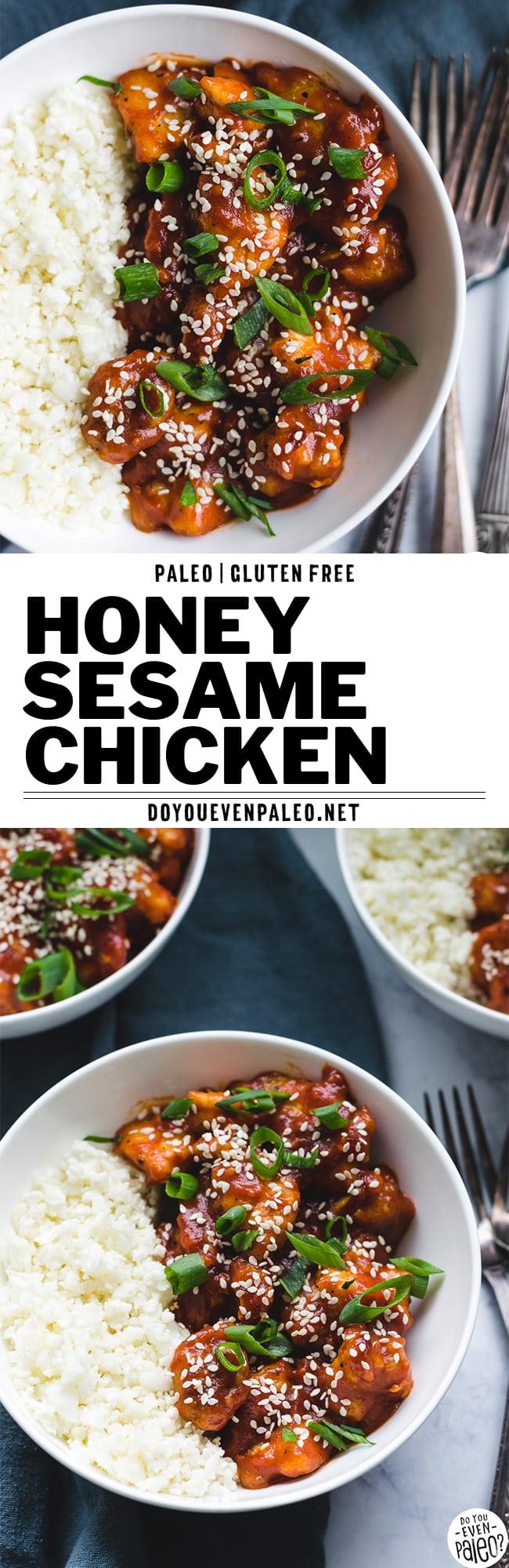 Paleo Honey Sesame Chicken Recipe Pin | DoYouEvenPaleo.net
