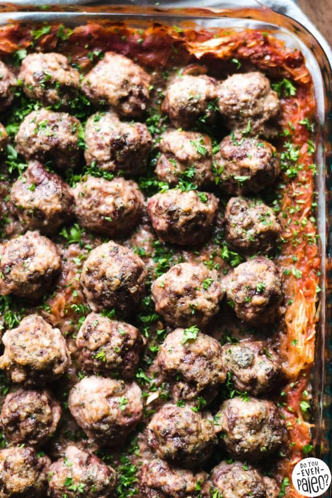 Spaghetti Squash & Meatball Casserole Recipe | DoYouEvenPaleo.net