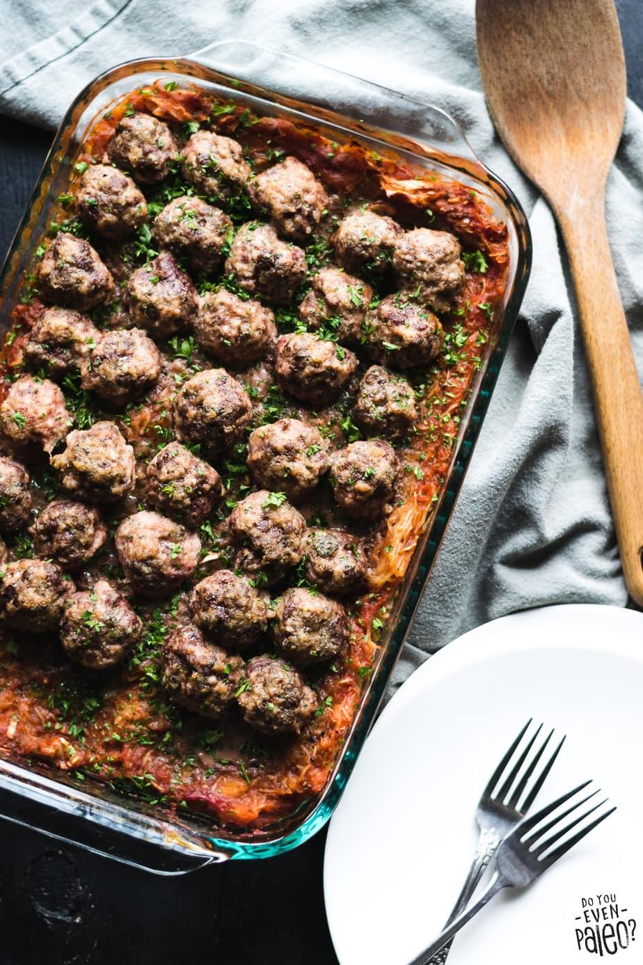Paleo Spaghetti Squash & Meatball Casserole Recipe | DoYouEvenPaleo.net