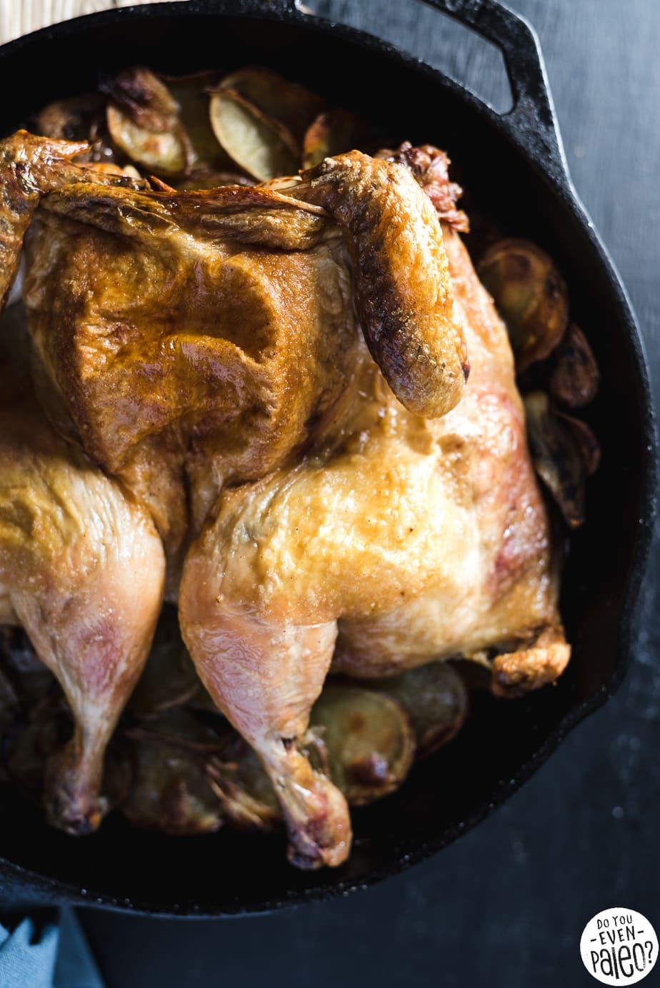 Paleo Spatchcocked Roast Chicken with Potatoes Recipe | DoYouEvenPaleo.net