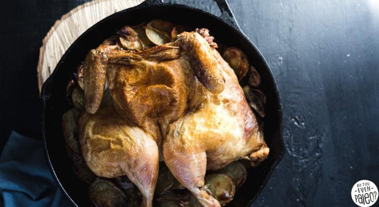 Paleo Spatchcocked Roast Chicken with Potatoes Recipe   DoYouEvenPaleo.net