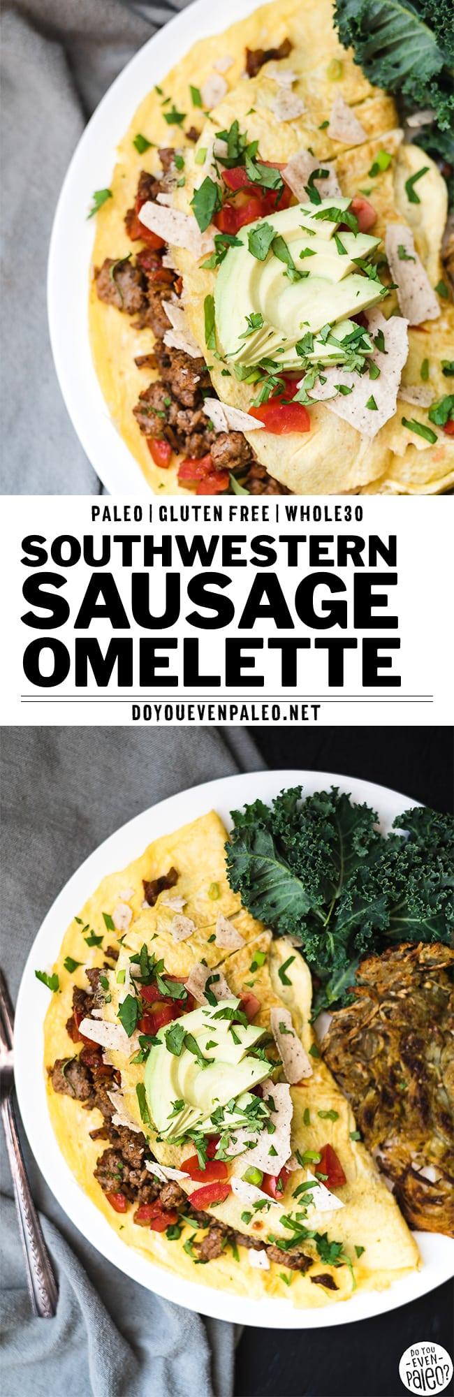 Paleo Southwestern Sausage Omelette Recipe Pin | DoYouEvenPaleo.net