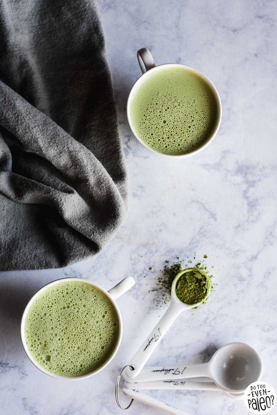 Dairy Free Tahini Matcha Latte Recipe | DoYouEvenPaleo.net