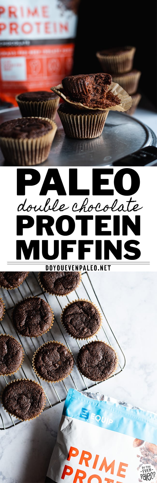Paleo Double Chocolate Protein Muffins with Equip Prime Protein | DoYouEvenPaleo.net
