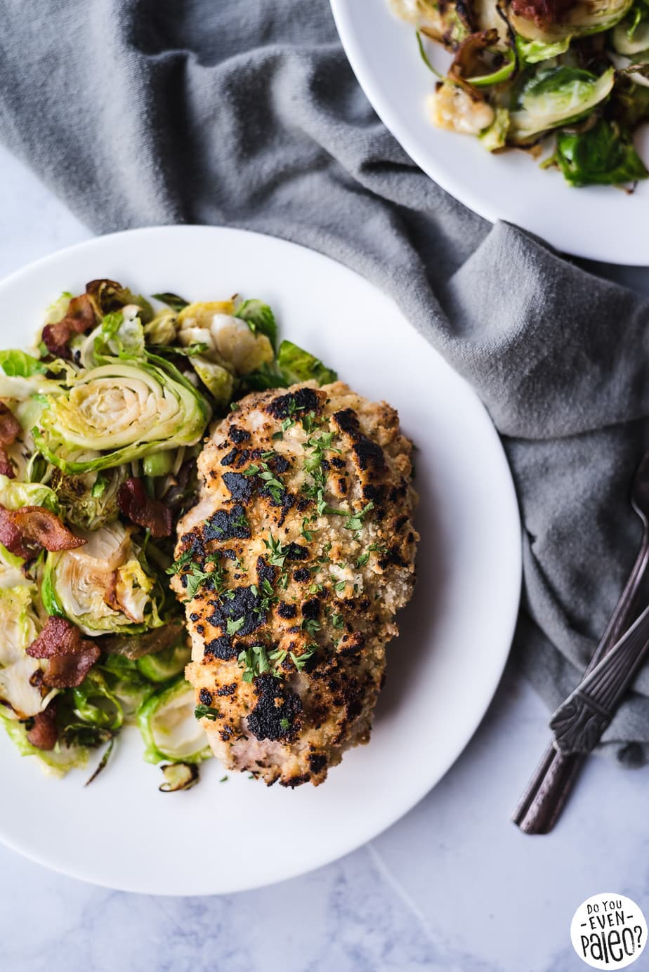 Macadamia-Crusted Pork Chops with Bacon Brussels Sprouts Recipe | DoYouEvenPaleo.net