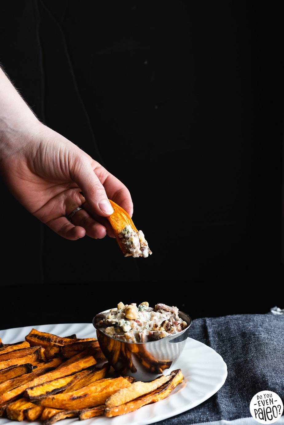 Sweet Potato Fries with Bacon Walnut Blue Cheese Dip Recipe | DoYouEvenPaleo.net