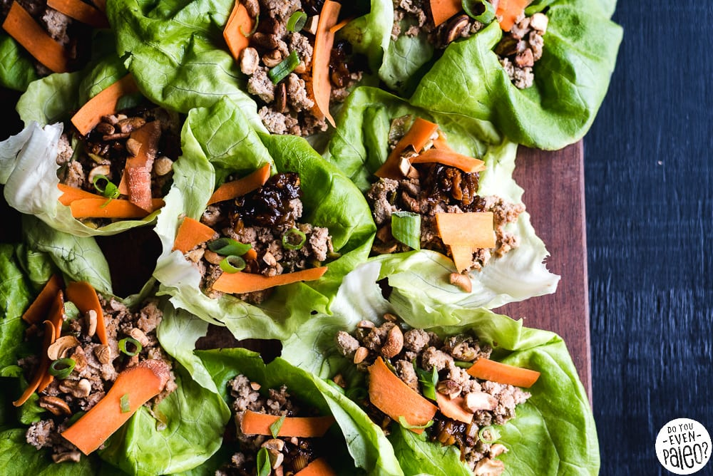 Whole30 Thai Chicken Lettuce Wraps Recipe | DoYouEvenPaleo.net