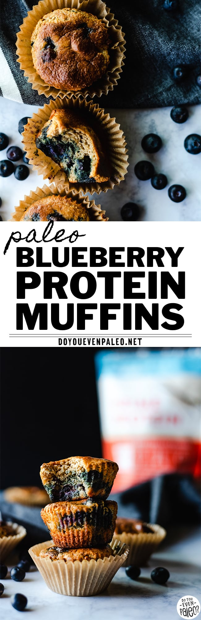 Image with text reading 'Paleo Blueberry Protein Muffins - DoYouEvenPaleo.net' with two images of blueberry muffins
