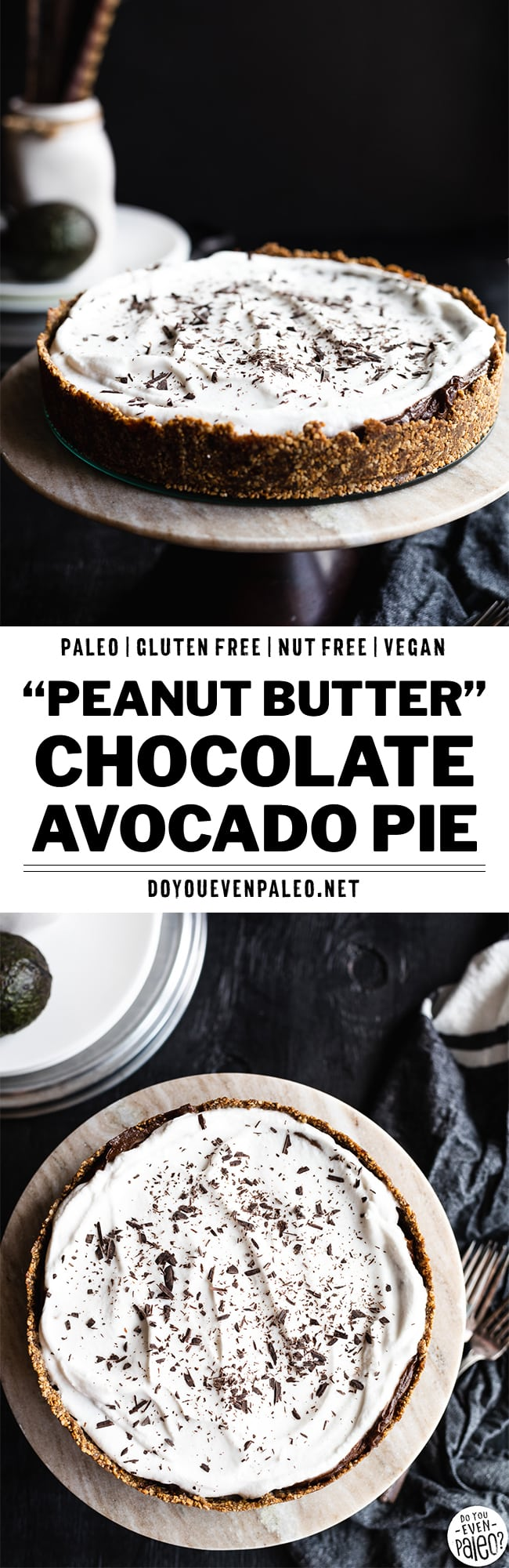 Paleo Faux Peanut Butter Chocolate Avocado Pudding Pie | DoYouEvenPaleo.net