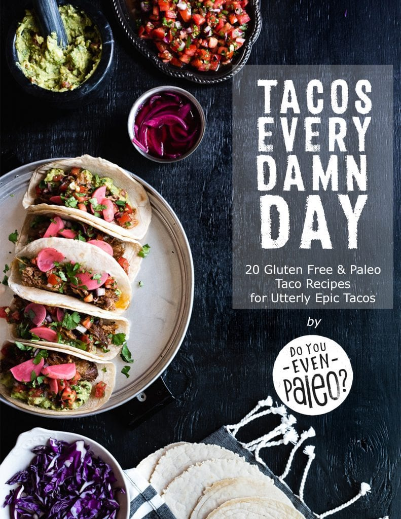 Cover page for Tacos Every Damn Day: 20 Gluten Free and Paleo Taco Recipes for Utterly Epic Tacos by DoYouEvenPaleo.net