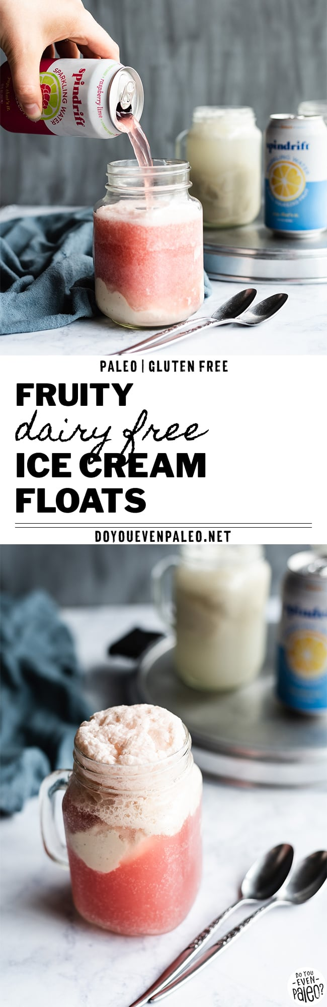 Fruity Paleo Dairy Free Ice Cream Floats Recipe