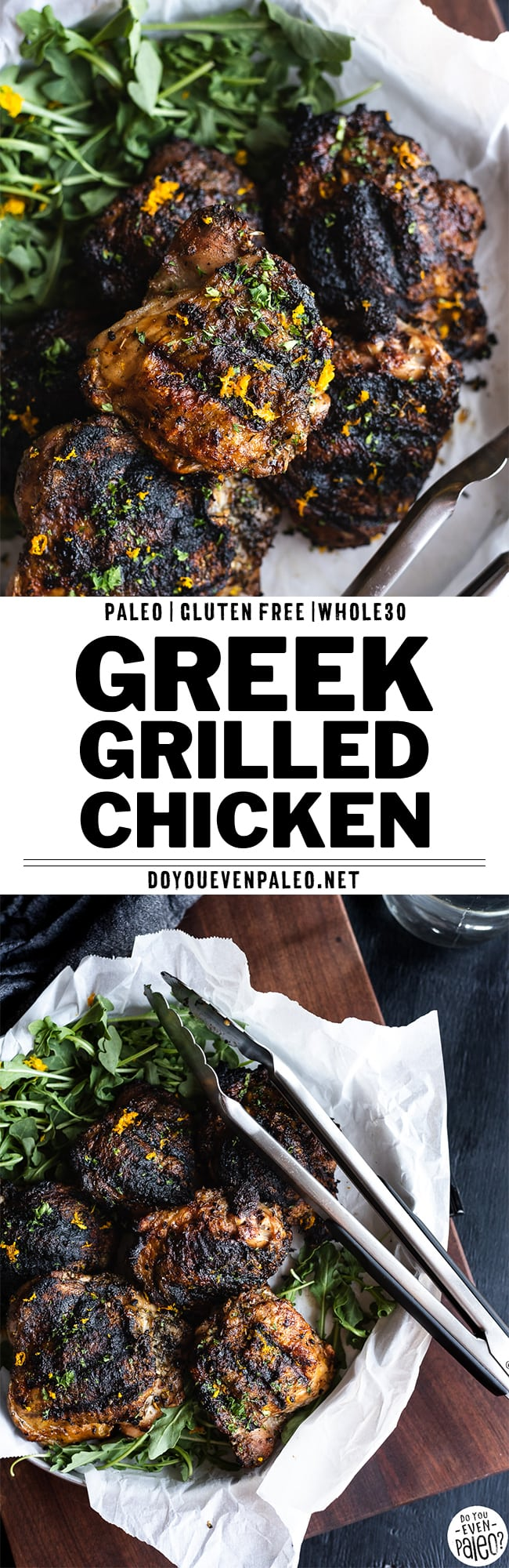 "Two images of grilled chicken thighs on a tray with text ""greek-grilled chicken thighs"""