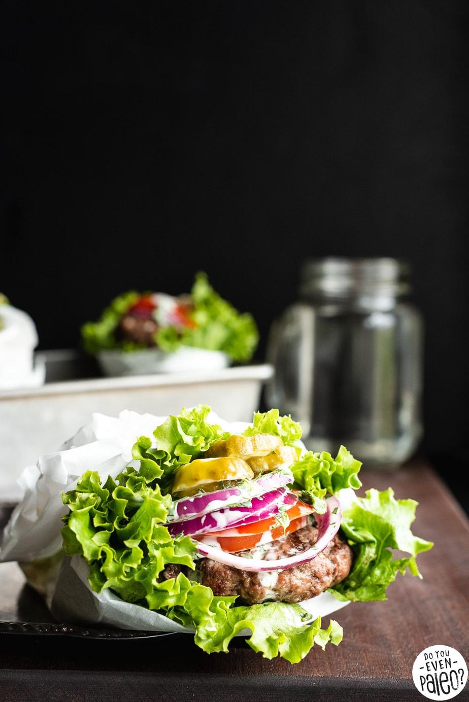 Easy Bunless Burgers with Cilantro Dill Mayo Sauce | DoYouEvenPaleo.net