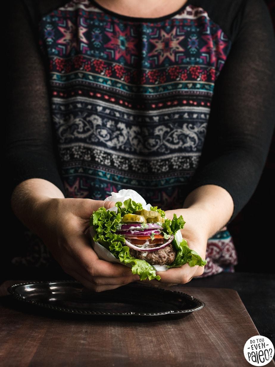 Easy Paleo Burgers with Cilantro Dill Mayo Sauce | DoYouEvenPaleo.net