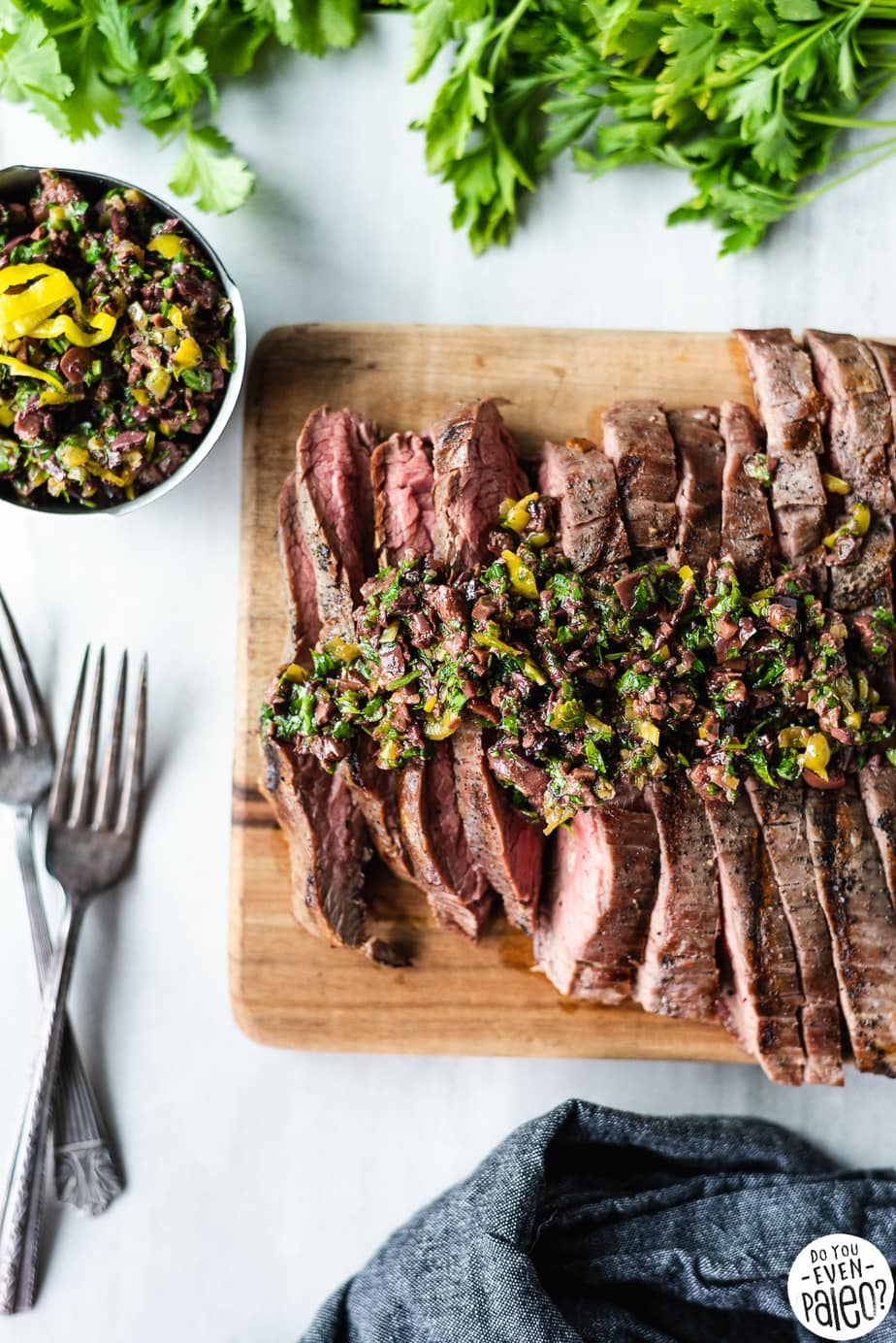 Paleo Grilled Flank Steak Recipe with Olive Herb Relish