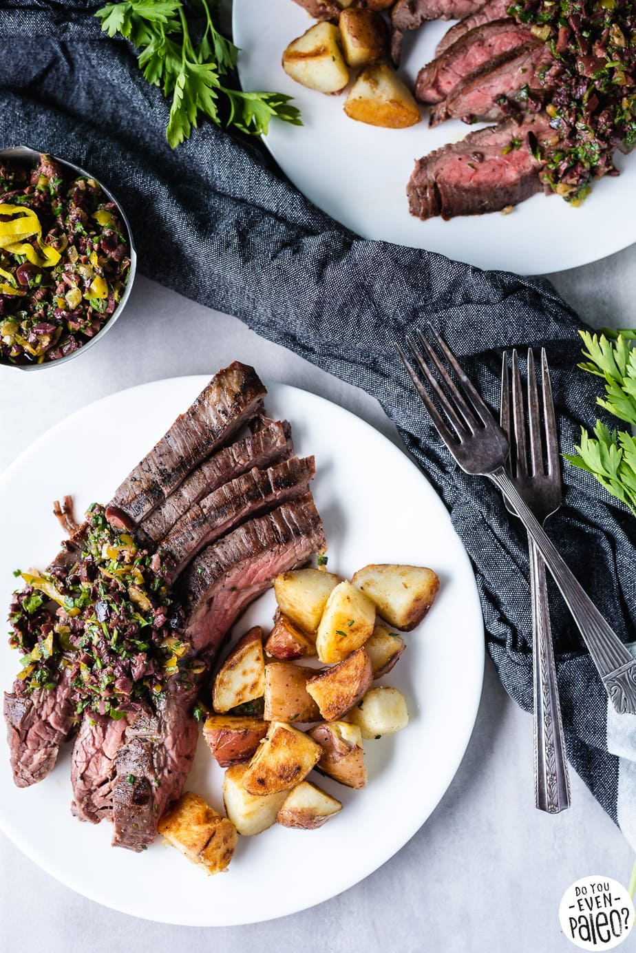 Grilled Flank Steak Recipe with Olive Herb Relish