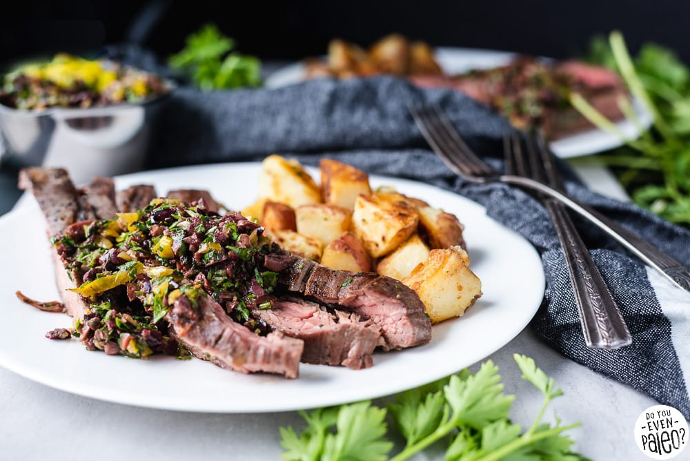 Gluten Free Grilled Flank Steak Recipe with Olive Herb Relish