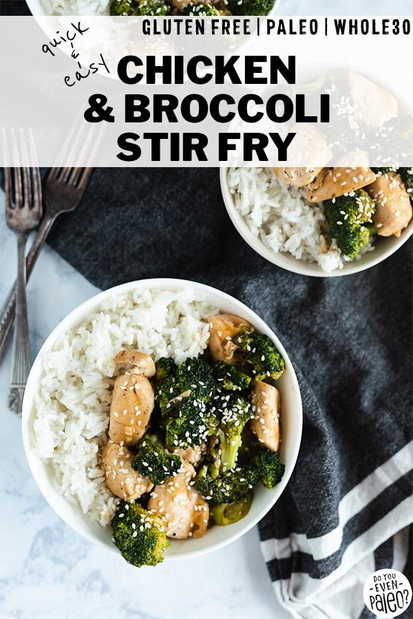 Quick & Easy Chicken & Broccoli Stir Fry Recipe in a white bowl next to a dark napkin by DoYouEvenPaleo.net