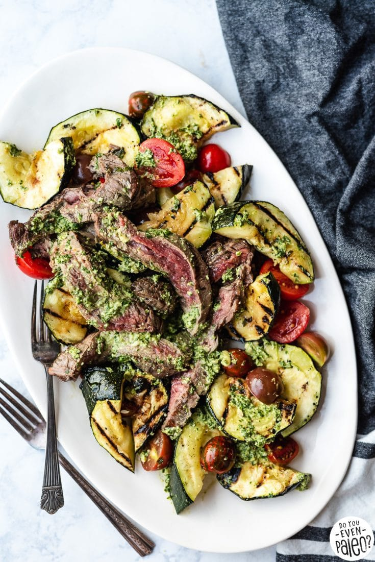 Grilled Steak, Zucchini, and Pesto Salad