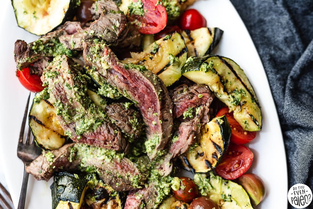Grilled Steak, Zucchini, and Pesto Salad | DoYouEvenPaleo.net