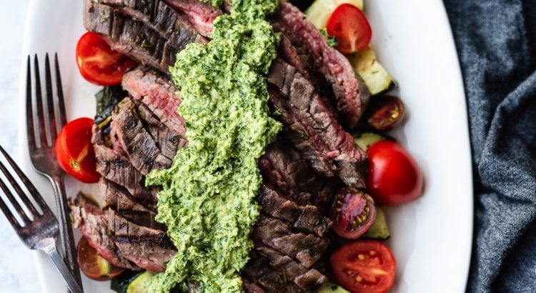 Grilled Steak, Zucchini, and Pesto Salad | Paleo recipe by DoYouEvenPaleo.net