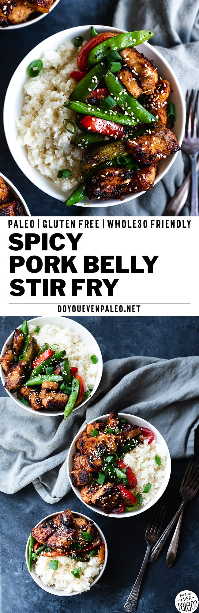 Pork Belly Stir Fry Recipe image with text overlay reading 'spicy pork belly stir fry paleo gluten free whole30 friendly' by DoYouEvenPaleo.net