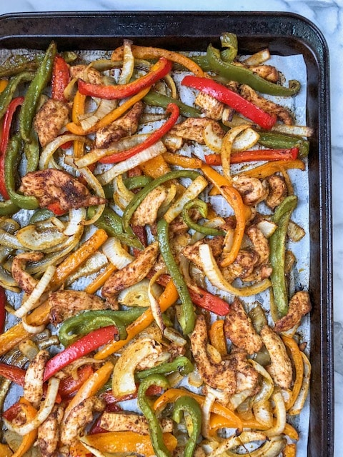 Chicken fajitas recipe on a sheet pan