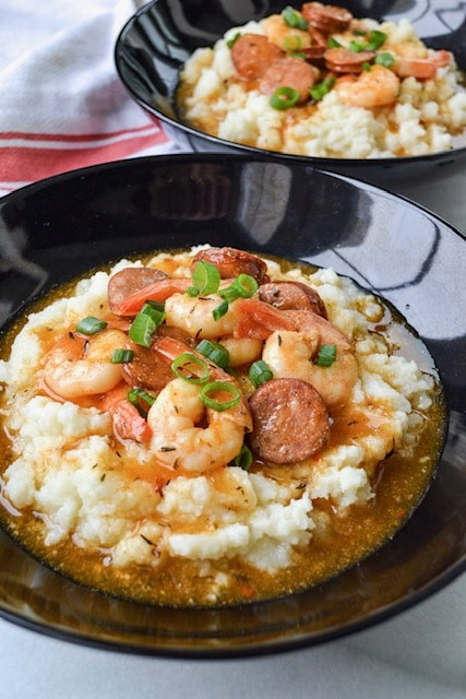 Two bowls with paleo shrimp and grits recipe