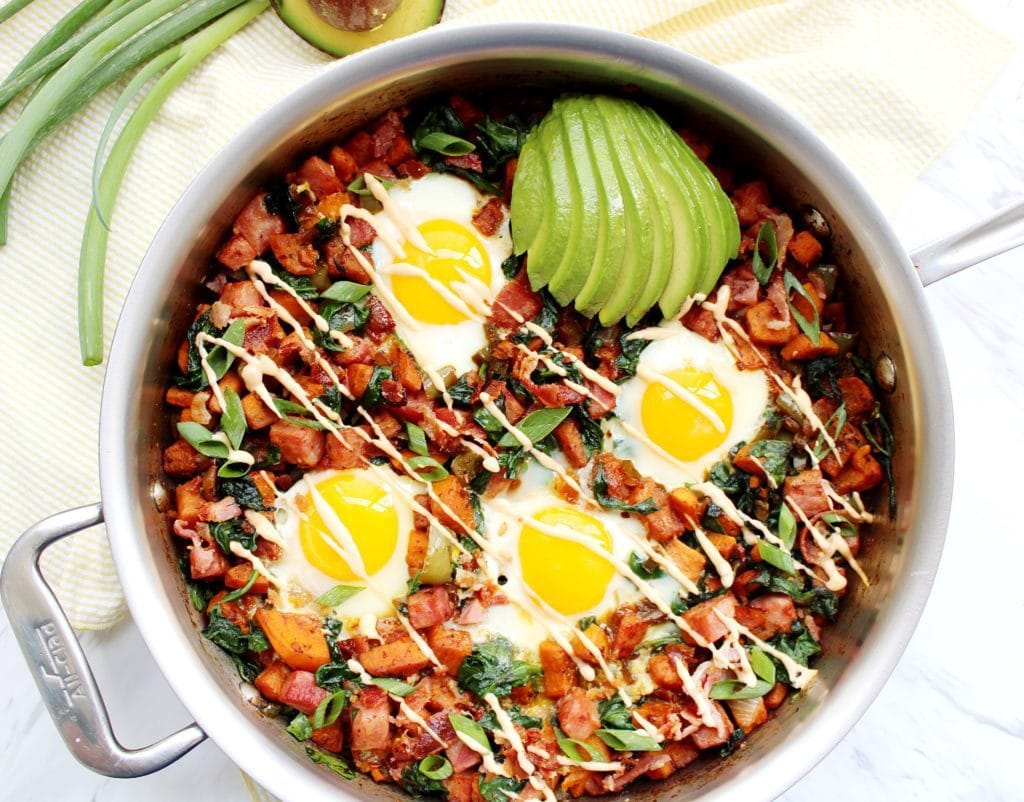 Tex Mex Breakfast Skillet in a stainless steel skillet
