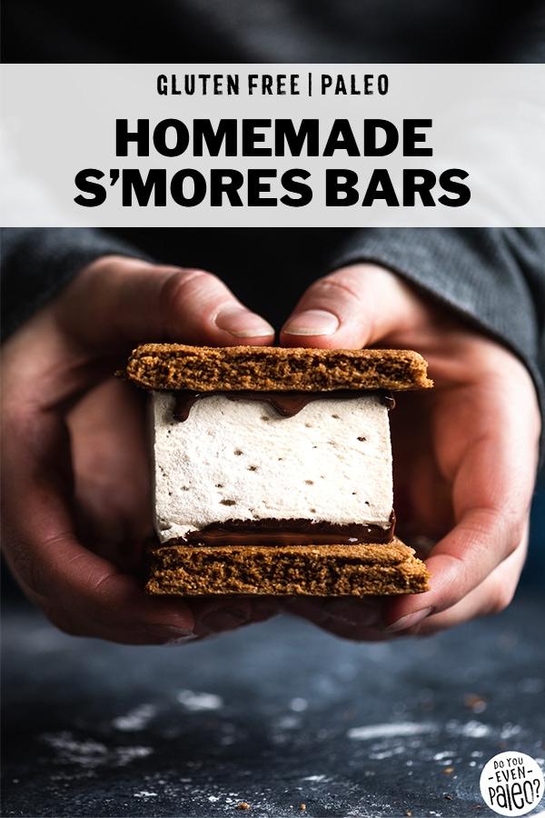 Hands holding a homemade paleo s'mores bar