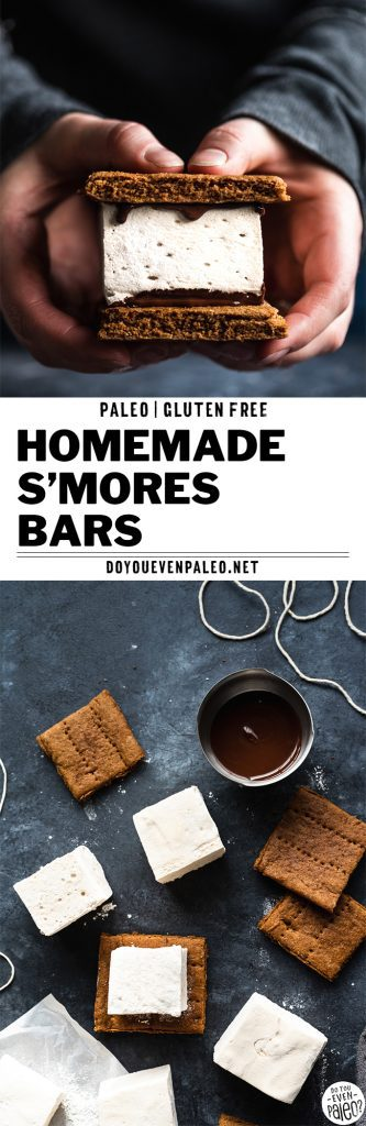 Hands holding a homemade paleo s'mores bar