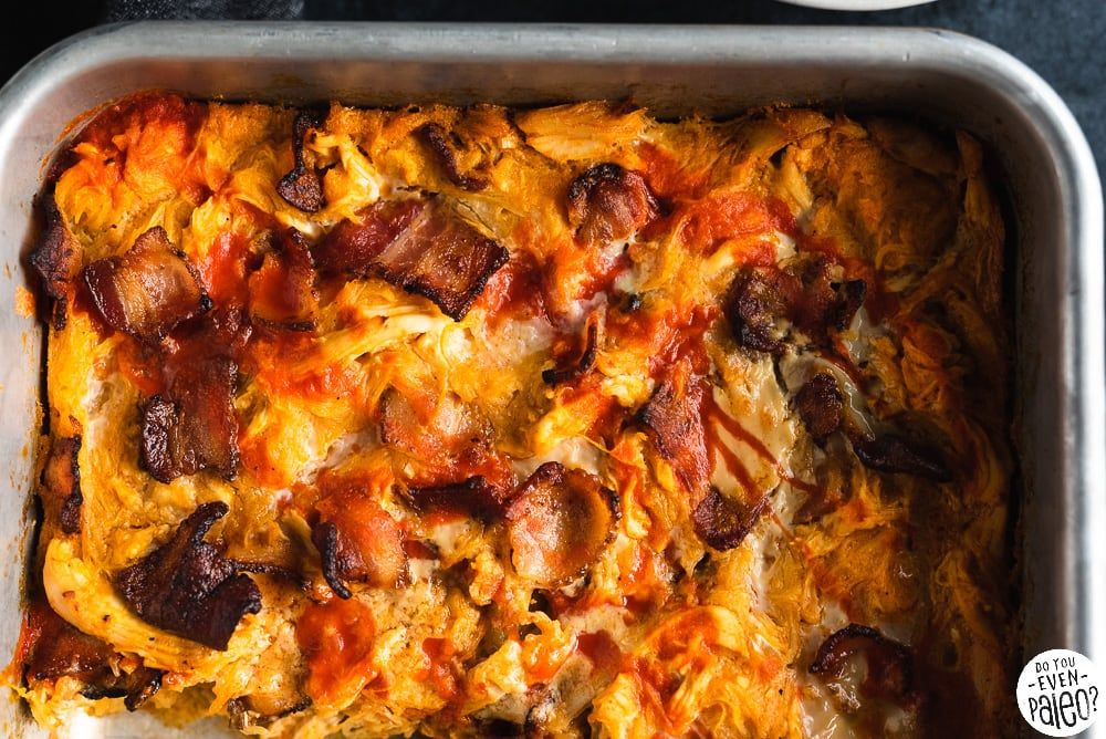 Baking pan with Bacon Buffalo Chicken Casserole recipe