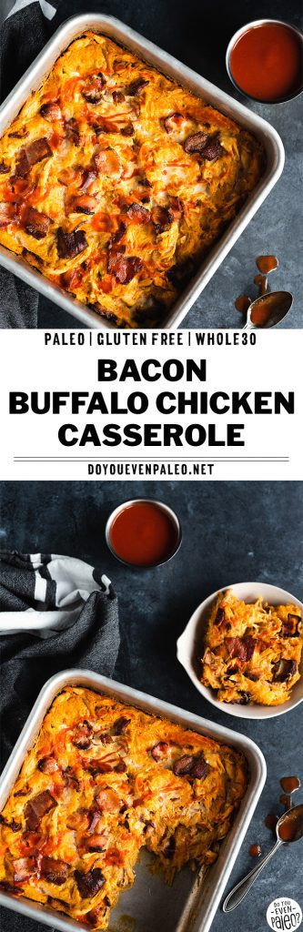 Baking pan with paleo bacon buffalo chicken casserole recipe on a dark background