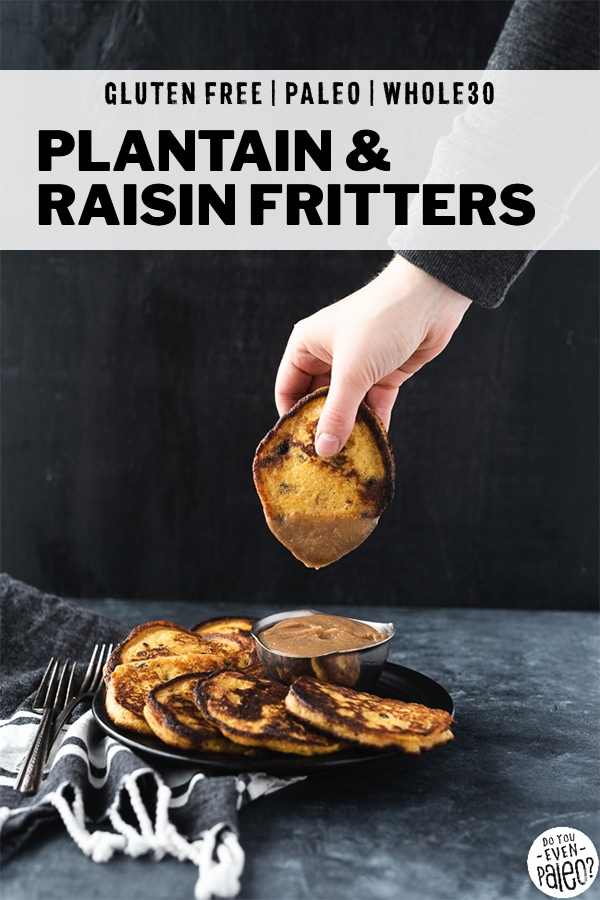 Paleo plantain & raisin fritters dipped into caramel sauce by a woman's hand