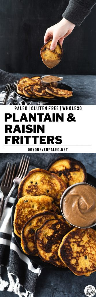 Paleo plantain & raisin fritters with caramel dipping sauce