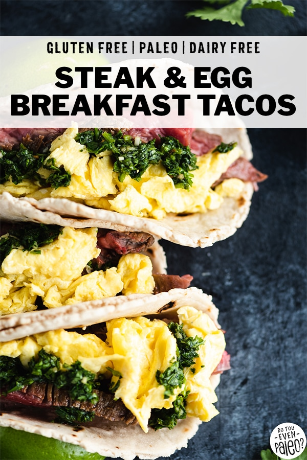 Steak and Egg Breakfast Tacos with Chimichurri arranged with ingredients on a dark background