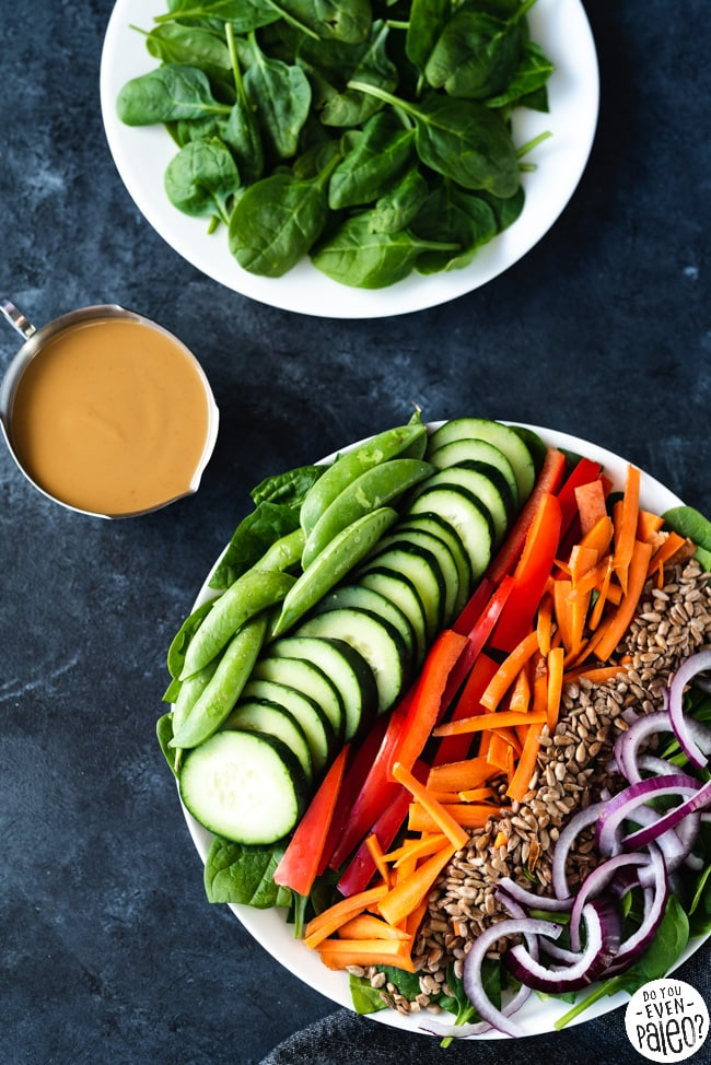 Chopped Spinach Salad with Sunbutter Vinaigrette