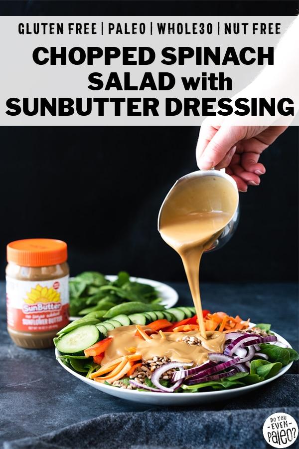 Chopped Spinach Salad with Sunbutter Vinaigrette Recipe