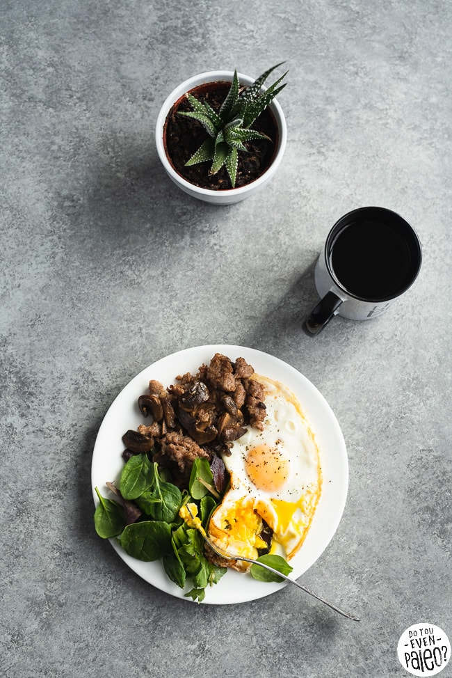 Coffee Conversations - breakfast with sausage, eggs, and greens with a cup of coffee