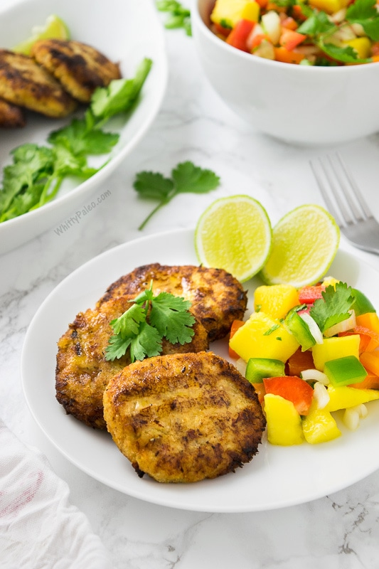 Plantain Fish Cakes with Mango Salsa by Whitty Paleo