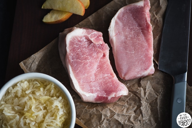 Ingredients for Whole30 Slow Cooker Pork Chops with Apples, Onions, and Sauerkraut