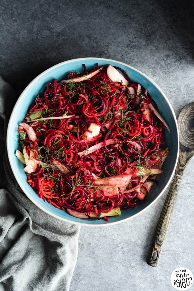 Paleo Spiralized Beet and Sweet Potato Noodle Salad Recipe