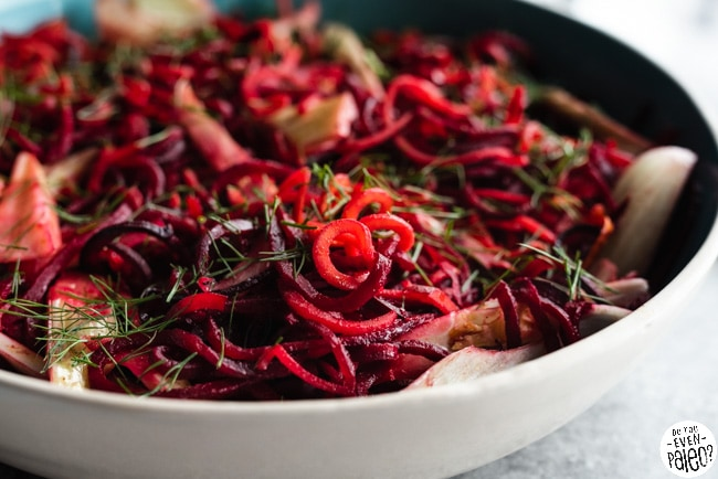 Gluten Free Spiralized Beet and Sweet Potato Noodle Salad Recipe